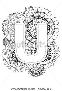 Coloring Book For Adult Mandala And Sunflower Capital Letter English Alphabet