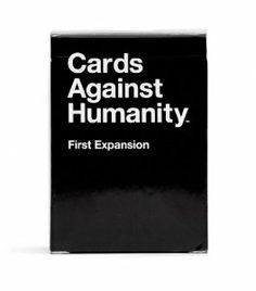 Cards Against Humanity: First Expansion  The first official expansion for Cards Against Humanity, featuring 80 brand-new white cards, 20 brand-new black cards, and, for the first time, blank cards which will allow you to seamlessly add your own inside jokes to the game.