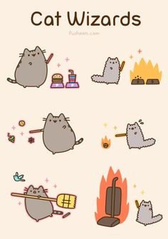 Animated version: http://pusheen.com/post/45540783195 Wizard Cat, Pusheen Stormy, Cute Cats And Dogs, Cool Cats, I Love Cats, Crazy Cats, Pusheen Cute, Gato Pusheen, Grumpy Cat