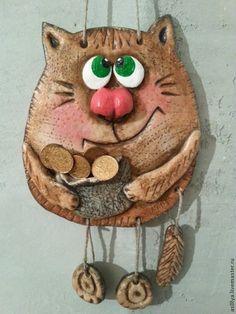 """Панно """"Котейка денежный"""" - соленое тесто,кот,панно на стену,подарок,новоселье"""