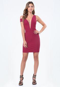 Deep V Off Shoulder Dress