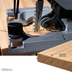 "Most jigsaw blades cut on the upstroke, so chips and splinters occur mostly on the top of the wood. So if you value one side of a board more than the other, make sure you keep the good side face down, and mark and cut the less important side. You can buy ""reverse cut"" or ""down cut"" blades that do cut on the down stroke. These blades are used when you want as little tear-out on the top surface as possible. Cutting out a sink hole in a laminate countertop is one common use for reverse-cut…"
