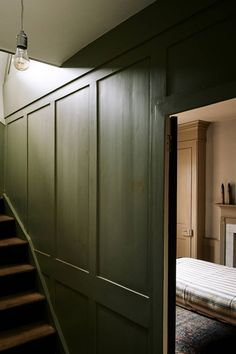 The dark, moody colours of the hallway walls make an atmospheric transition between floors. A dilapidated Georgian house in London's East End was given a new lease of life with historically accurate shades of paint made by owner Pedro da Costa Felgueiras. House Design, House, Decor Design, Hallway Walls, Georgian Homes, Georgian Interiors, Home Decor, Home Renovation, Bathroom Decor