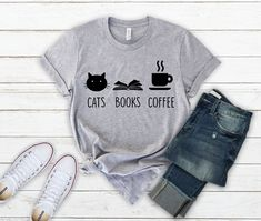 9c964015f Cat books shirt, Cat books coffee shirt, cat books tea shirt, cat lover  shirt, cat and book lover shirt, cat lover gifts, cat shirt, cat mom