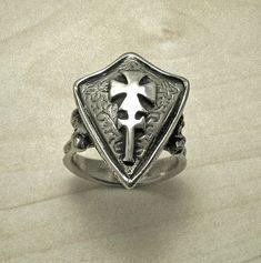 Mens silver ring Shield mens ringsterling silver signet