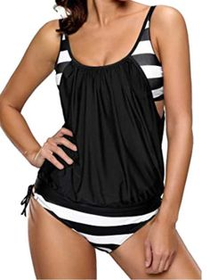 39ed53d28a2ed New Black & White Tankini & Shorts Set Size 8 Strappy Padded Top  &