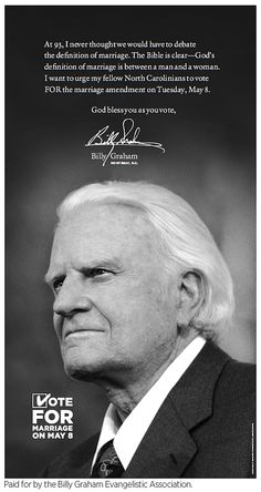 shameful: 93-year-old Billy Graham supports marriage discrimination