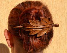 Leaf, Wood Hair Accessories, Wooden Shawl Pin, Mom, Wife Gift, Hair Stick, Barrette, Haarstab, Wood Carving, Leaf Hair Barrette, Wood Leaf