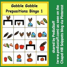 Instagram Seasonal Activity of the Week: Gobble, Gobble Prepositions Bingo - pinned by @PediaStaff – Please Visit ht.ly/63sNtfor all our pediatric therapy pins  -