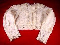 Vintage Antique Victorian Baby Child's waist Blouse lace trim m.of p. buttons