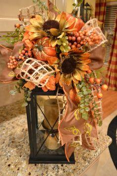 Share Your Creations Party # 58 Fall Lanterns, Lanterns Decor, Fall Lantern Centerpieces, Fall Home Decor, Holiday Decor, Fall Flower Arrangements, Floral Arrangement, Autumn Decorating, Decorating Ideas