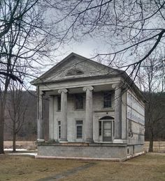 This Greek revival home once had two symetrical wings on either side, now destroyed.  Someone started renovating the home a decade ago but now stands abandonded.  Located in Tioga PA.  I wish I had thought to take many pictures of it before the destruction started.  It was spectacular. Greek Revival Architecture, Architecture Old, Classical Architecture, Beautiful Architecture, Architecture Details, Abandoned Mansions, Abandoned Buildings, Abandoned Places, Huge Houses