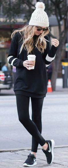 Sporty Outfits : Description The perfect winter outfit! Black leggings, tunic sweatshirt, beanie, and Nikes. Athleisure Look- Life By Lee Winter Fashion Outfits, Fall Winter Outfits, Look Fashion, Autumn Fashion, Casual Winter, Fashion Ideas, Winter Wear, Winter Style, Spring Outfits