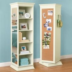 This Rotating Bookcase From PB Teen Looks Like A Great Way To Save Space In  A Small Bedroom. The Unit Offers Shelves, A Mirror, A Corkboard, And Peg  Hangers ...