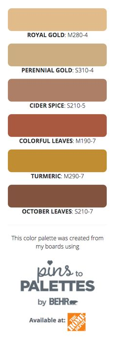 Want to know how you can get a gorgeous paint color palette like the one pictured above? Check out the Pins to Palettes tool by BEHR Paint. Simply choose between your favorite Pinterest boards to create a customized color scheme that you can use in home makeovers and decorating for fall. Featured BEHR Paint colors: Royal Gold, Perennial Gold, Cider Spice, Colorful Leaves, Turmeric, and October Leaves.