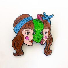 Alien Girl enamel pin