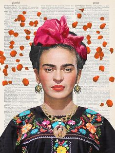 'Frida Kahlo Flowers Paper' T-Shirt by WandaNew Frida Paintings, Freida Kahlo Paintings, Fridah Kahlo, Frida Kahlo Portraits, Frida Kahlo Artwork, Frida Art, Pop Art Portraits, Diego Rivera, Maquillage Halloween