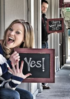 AHAHAHA! Very funny engagement photo, announcement idea