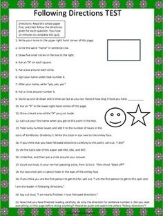 Following Directions TEST -  A Tricky Following Directions Lesson FREE Great for April Fool!
