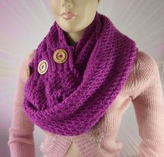 KNITTING PATTERN SCARF  Lou Lou kiss Scarf Cowl by LiliaCraftParty