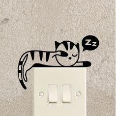 Muursticker slapende kitten 2