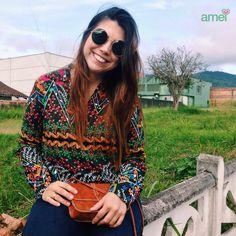 Flores do jardim da @loja_amei  #etiqueaamei #blusa #bolsa #marrom #novidades #linda #muitoamor