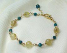 "Gemstone Bracelet - Golden Rutilated Quartz / Apatite / 14 Karat Gold Fill - Genuine Natural Gemstone, Beaded, Boho, Adjustable 7"" - 7-1/2"""