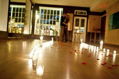 Prom proposal via candles and rose petals