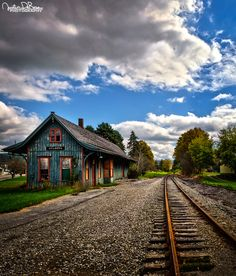 ❦ Abandoned by *JustinDeRosa on deviantART Abandoned Property, Abandoned Places, Abandoned Train Station, Empty Road, Old Steam Train, Country Walk, City Sky, Train Pictures, Ways To Travel