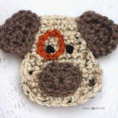 D is for Dog: Crochet Dog Applique @RepeatCrafterMe.com