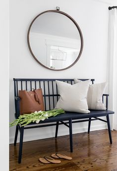 Foyer Bench Spindle back bench Foyer bench ideas Classic and timeless black spin Foyer and Entryway Ideas bench black classic foyer Ideas spin Spindle timeless Front Hallway, Entry Foyer, Entry Bench, Bench In Hallway, Entry Mirror, Front Entry, Modern Entryway, Entryway Decor, Entryway Ideas