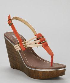 Look at this #zulilyfind! Orange Perry Wedge Sandal #zulilyfinds