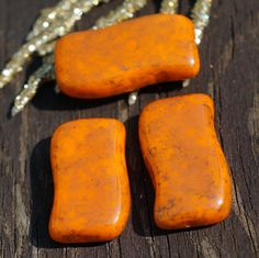 Rectangle Brick Wave Large Picasso Orange Beads Czech Glass Beads Picasso Beads Orange Flat Glass Beads Orange Czech Beads 20mm x  by CzechBeads, $2.24 USD