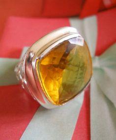 Huge Ring Glass Citrine Vintage Silver sz 89 by LakeBreezes, $25.00