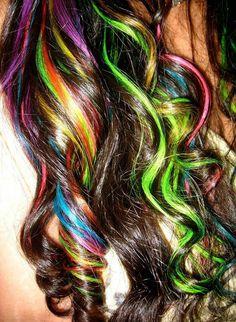 Curly multi color rainbow hair
