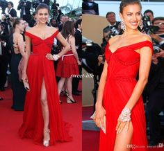 Red Carpet Celebrity Dresses Irina Shayk Red Carpet Beads Off Shoulder Side Slit Celebrity Evening Dress Long Chiffon Prom Formal Gowns 2016 Online with $91.02/Piece on Sweet-life's Store | DHgate.com