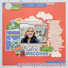 """Explore and Discover Layout by Jana Eubank featuring the """"Passport"""" collection by Travel Scrapbook Pages, 12x12 Scrapbook, Scrapbooking Layouts, Vacation Scrapbook, Bridal Shower Scrapbook, Picture Layouts, Echo Park Paper, Collage, Papers Co"""