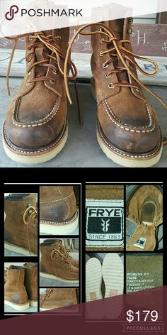 nwob FRYE Dakota DISTRESSED grunge look Boots Gorgeous boots by Frye!! Sz 6.5 NEW never worn, only tried around the house, sadly i don't have thee box,  Sueded leather w/artisan produced distressing details,  darker in some areas, some scuffs & nicks all part of thee distressing process not from being worn.  I have 2 other of these in diff colors as well as thee tall Dakota boots in 3 colors & since I haven't worn these listing for sale . More pics to be posted shortly  TYSM xoxo Frye Shoes…