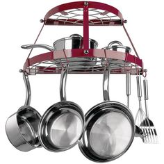 Range Kleen 2 Shelf Wall Mount Pot Rack, Red: Wall Mount Red Wrought Iron Pot Rack to easily store cookware and tools. Accommodates all kitchens. Includes complete installation hardware and instructions. Pot Rack Hanging, Hanging Pots, Pot Hooks, Hanging Baskets, Hanging Organizer, Hanging Storage, Kitchen Storage, Kitchen Decor, Kitchen Ideas