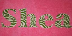 Prep School Zebra Personalized Applique Towel by damselinadress