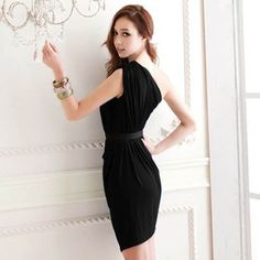 Women's Fashion Solid Color One Shoulder Sleeveless Dress | eBay