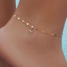 Details about Women Gold Plated Starfish Sea star Anklet Bracelet Beach Foot Chain Jewelry Women Gold Plated Starfish Sea star Anklet Bracelet Beach Foot Chain Jewelry Ankle Jewelry, Cute Jewelry, Body Jewelry, Jewelry Bracelets, Chain Jewelry, Jewellery, Jewelry Box, Anklet Tattoos, Anklet Designs