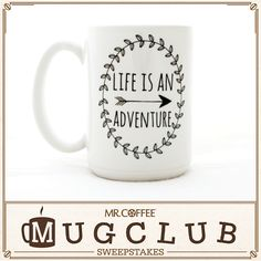 Life is an adventure, and every great adventure starts with a cup of delicious coffee! Enter our Pinterest sweepstakes for your chance to win this mug by MilkandHoneyLuxuries on Etsy and a Mr. Coffee® Single Cup K-Cup® Brewing System! Visit https://www.facebook.com/mrcoffee/app_600948003314659?ref=ts to enter. Sweepstakes ends 4/10/15. #MrCoffee #Coffee #MugClub #Love #Adventure #Sweepstakes #pintowin