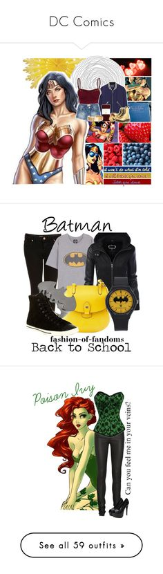 """""""DC Comics"""" by laceyleanne18 ❤ liked on Polyvore featuring dc, comics, Religion Clothing, Rebecca Minkoff, MANGO, J.Crew, Dr. Martens, ASOS, Topshop and Dooney & Bourke"""