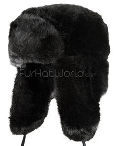 29f9e7e71c9dd Black Faux Fur Russian Ushanka Hat for Men