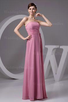 Strapless chiffon dress with ribbon  Sheath/Column, Floor Length, Strapless, Natural, Sleeveless, Pleats, Zipper, Chiffon,