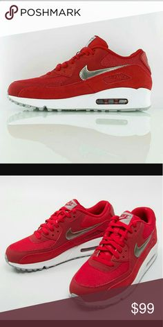 350be03bc75e Nike Air Max 90 Red Silver NWOT NEW Nike Air Max 90 Essential Red Metallic  Silver