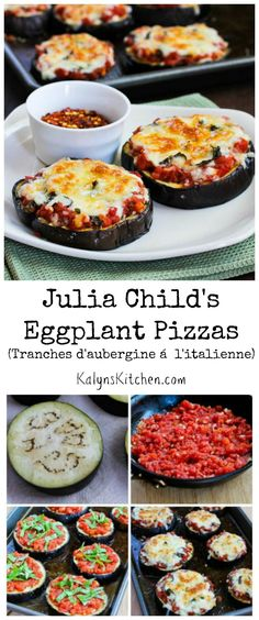Celebrate Julia Child's birthday or just the abundance of summer produce with Julia Child's Eggplant Pizzas, a recipe that's been hugely popular on my blog. This is a delicious #MeatlessMonday main dish, or serve it as a side dish with something from the grill. [from KalynsKitchen.com] #LowCarb #GlutenFree #Meatless
