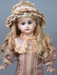 "18"" Tete Jumeau French Bebe size 8 in Silk Costume—So Sweet from kathylibratysantiques on Ruby Lane"