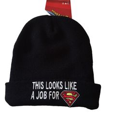 DC Comics This Looks Like A Job For Superman Cuffed Embroidered Beanie Hat #DCComics #Beanie